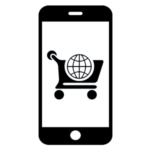 An icon of a mobile with a shopping cart on its screen.