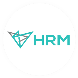 An ellipse containing logo of HRMS.